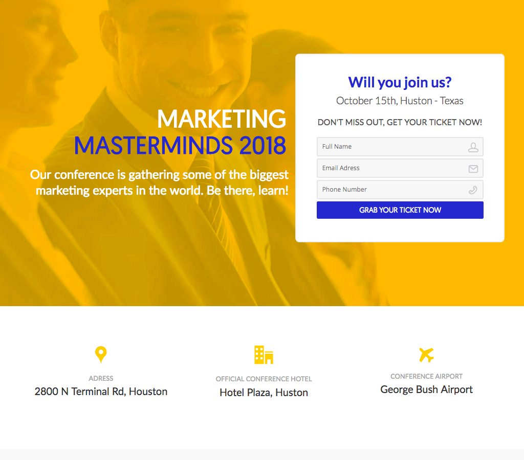 Premium Marketing Conference Opt-in Page - The Landing Factory