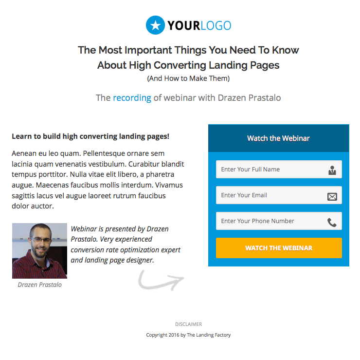 how to build a landing page form